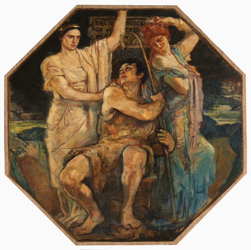 """The Choice of Hercules"" octagonal, from the mural series ""T ... Image 1"
