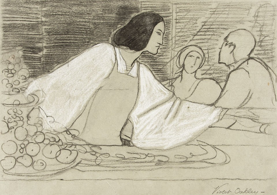"Study for ""Il Convito,"" The Banquet: Edith Emerson as the pa ... Image 1"