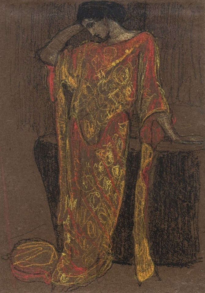 Portrait study of Edith Emerson (in orange and gold gown) Image 1