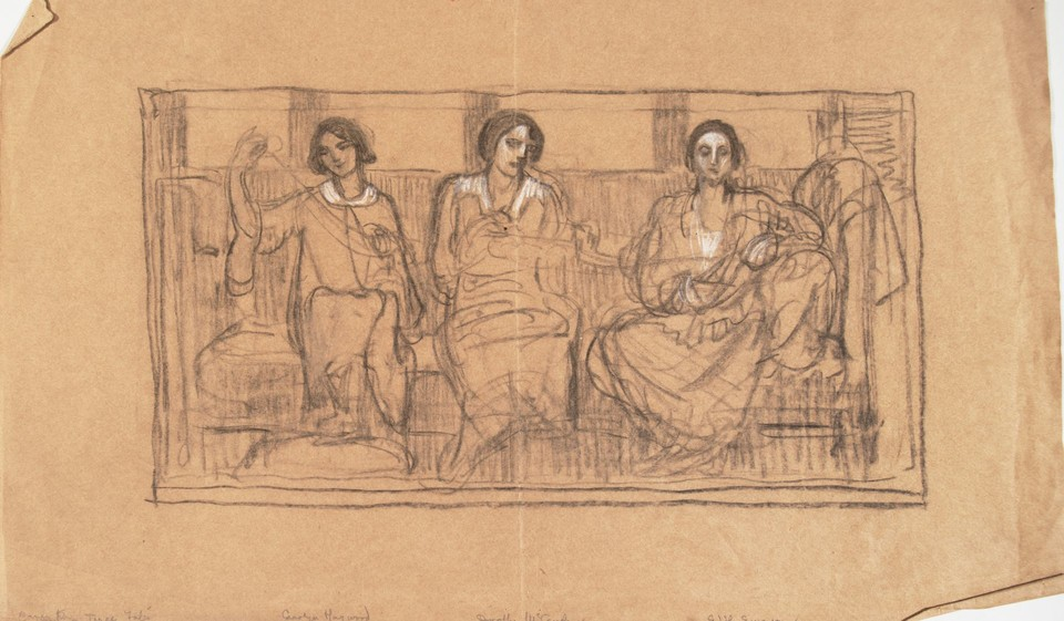 Group portrait study of Carolyn Haywood, Dorothy McCauslan a ... Image 1