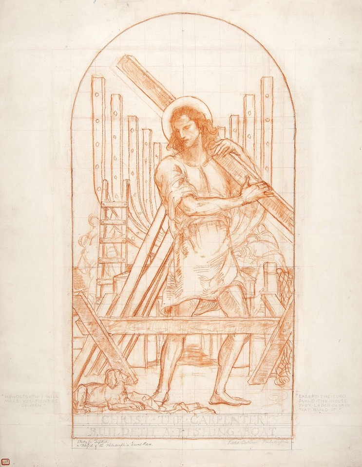 "Study for Christ, ""Christ the Carpenter"" World War II portab ... Image 1"