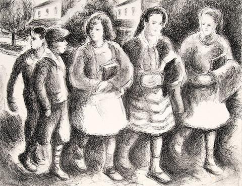 Ethel V. Ashton: Untitled (School Children) (c. 1930s-1940s) Lithography