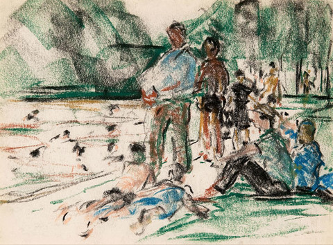 Ethel V. Ashton: [Men in Park] (Undated) pastel on paper