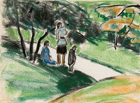 Ethel V. Ashton: [women in park] (Undated) pastel on paper