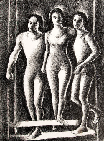 Ethel V. Ashton: Untitled (Three Trapeze Artists) (c. 1930s-1940s) Lithography