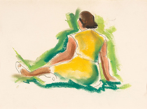 Ethel V. Ashton: Untitled (Woman in a Yellow Dress) (Date unknown) Pastel