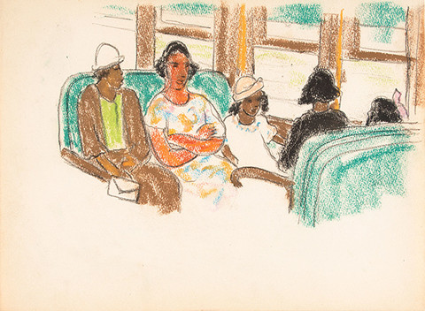 Ethel V. Ashton: Untitled (Women and Girls) (c. mid 1930s) Pastel and graphite