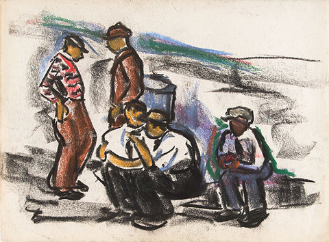Ethel V. Ashton: Untitled (Five Men) (c. mid 1930s) Pastel