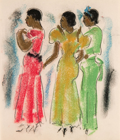 Ethel V. Ashton: Three Women (Date unknown) Pastel on paper