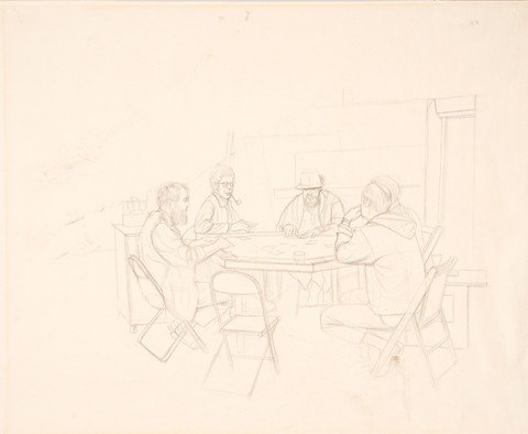 Larry Day: Untitled (Poker Game) (c. 1970) Graphite on paper