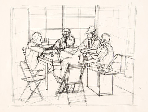 Larry Day: Untitled (Poker Game) (c. 1970) Pen and ink on paper