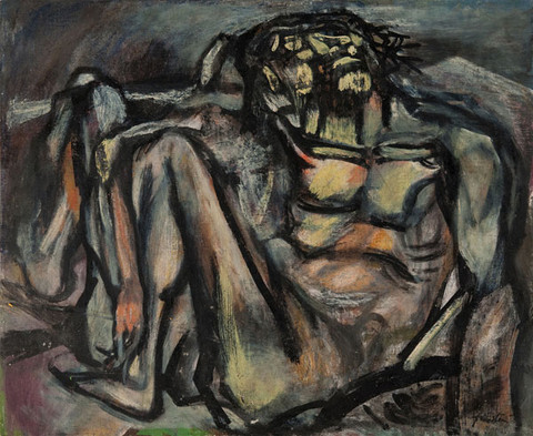 Sam Feinstein: [Crucified] (mid to late 1930s) Oil on canvasboard