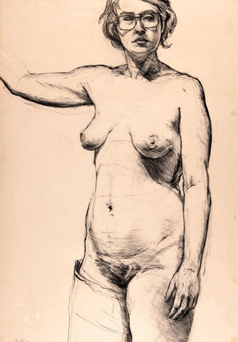 Edith Neff: Self-Portrait While in Cast for Broken Leg (1974) Charcoal on paper