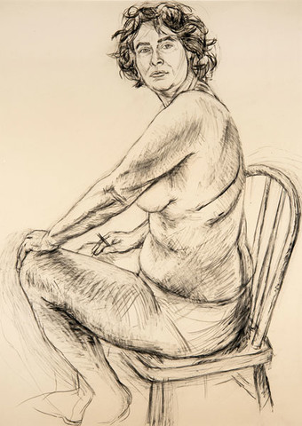 Edith Neff: Self-Portrait (Charcoal) (1994) Graphite on paper