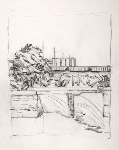 Edith Neff: [Train and Bridge, Philadelphia] (c. 1987) Graphite on paper
