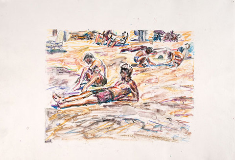 Edith Neff: [Two Male Bathers on Beach] (c. 1988) Monoprint and water soluble crayon