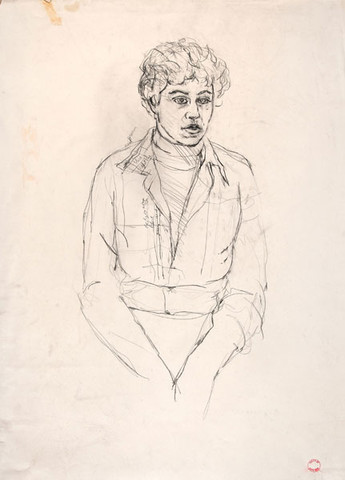 Edith Neff: [Seated Woman] (c. 1972-1973) Pencil on paper