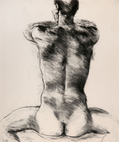 Edith Neff: Seated Male Nude Seen from the Back (c. 1980) Charcoal on paper