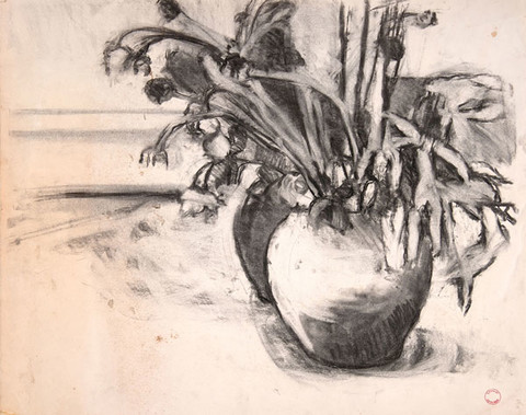 Edith Neff: Flowers in a Vase (c. 1964) Charcoal on paper