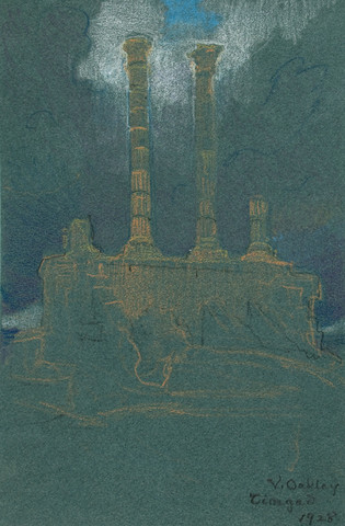 Violet Oakley: Timgad (Temple) (1928) Pastel on laid paper