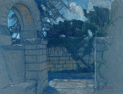 Violet Oakley: Untitled, (stone arch and ivy covered wall) (Undated) Pastel on laid paper