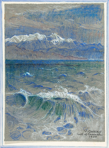 Violet Oakley: Gulf of Corinth (Parnassus) (1928) Pastel on laid paper