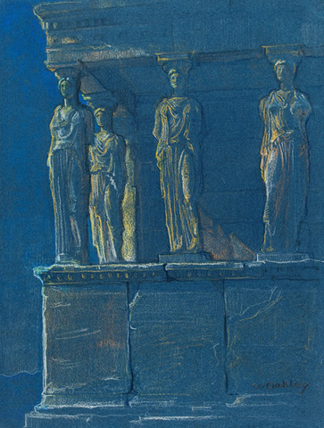Violet Oakley: The Erechtheum, Porch of the Maidens (c. 1927) Pencil on heavy laid paper