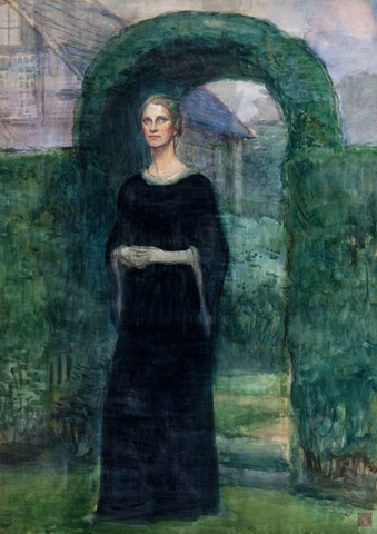 Violet Oakley: Portrait of Mrs. Chester Pyle (Eleanor Pyle) at Cogslea (Date unknown) Watercolor on paper