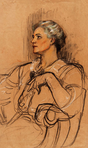 Violet Oakley: Untitled [Portrait of a Woman] (Undated) Pastel and charcoal