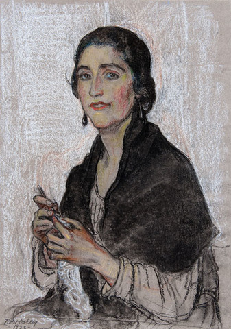 Violet Oakley: Untitled [Portrait of a Woman Crocheting] (1923) Pastel and charcoal