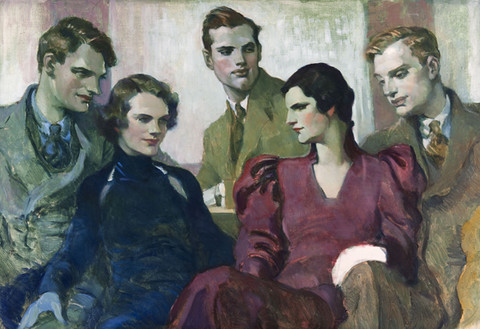 Violet Oakley: Study for the Bromley Family Portrait (Undated) Oil on canvas