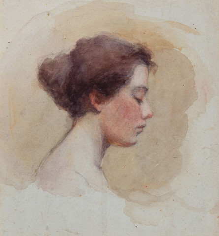 Violet Oakley: Profile of a Woman (1895) Watercolor and graphite