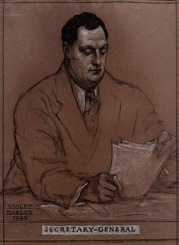 Violet Oakley: Trygve Lie (1896-1968), from Norway, Secretary-General of the United Nations, from the United Nations Series, 1946 (1946) Pencil and crayon on brown paper