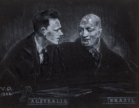 Violet Oakley: Australia and Brazil, United Nations Series () White and black conté on black paper