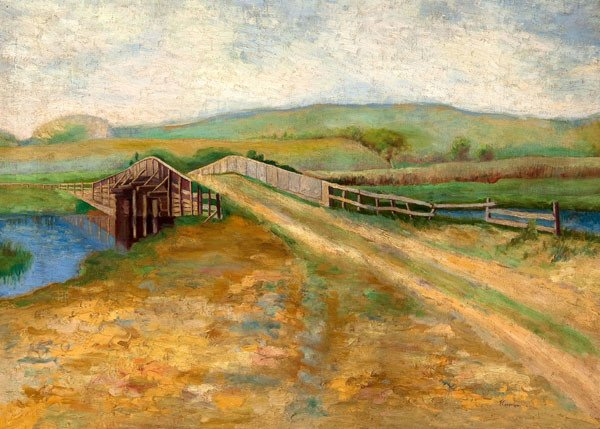 Fern Isabel Coppedge: Landscape with Bridge (1912) Oil on canvas