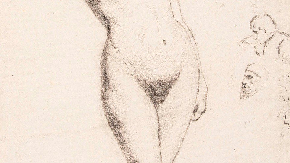 Study of Female Nude and Male Heads