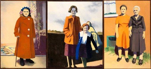 Edith Neff: [Triptych of the artist's mother and others] ()